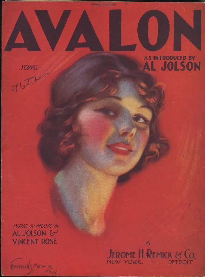 Al Jolson: Avalon sheet music 1920 Frederick S Manning pretty girl cover