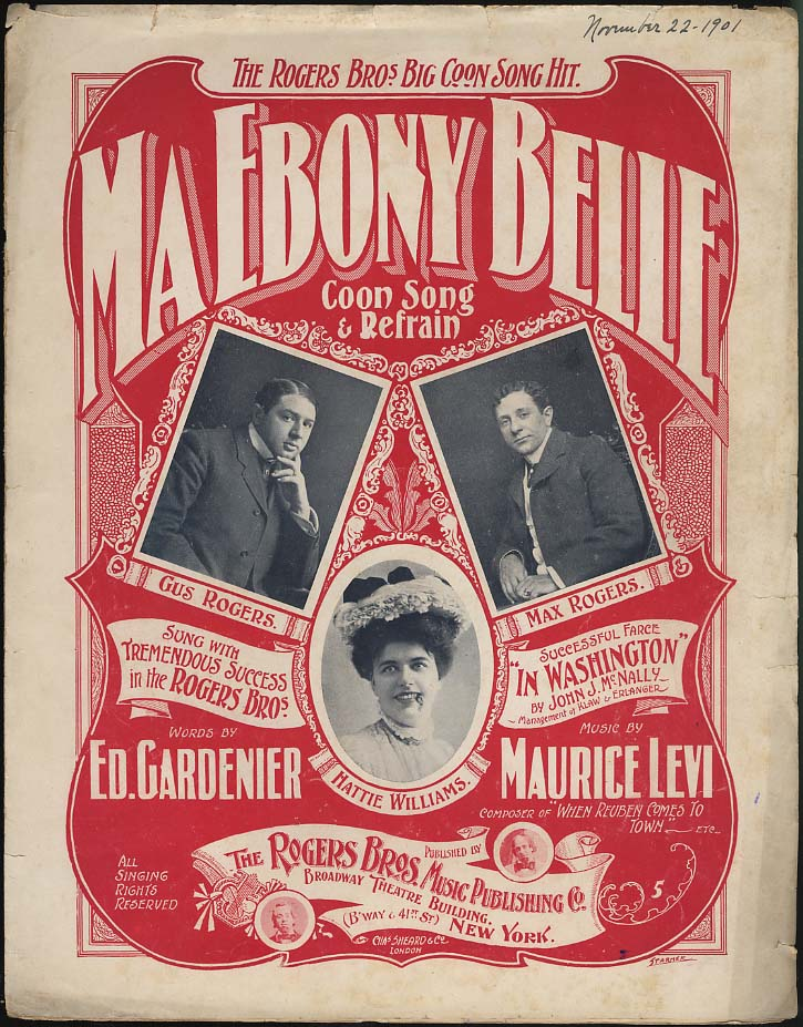 Ma Ebony Belle Coon Song & Refrain sheet music 1901 black stereotype