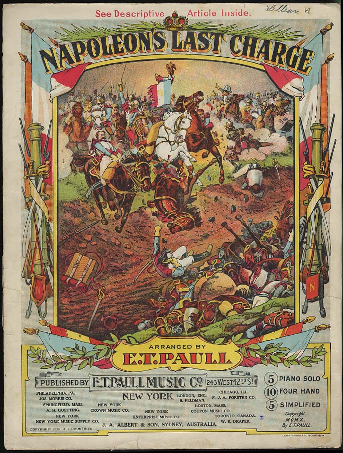 Napoleon's Last Charge sheet music by E T Paull 1910