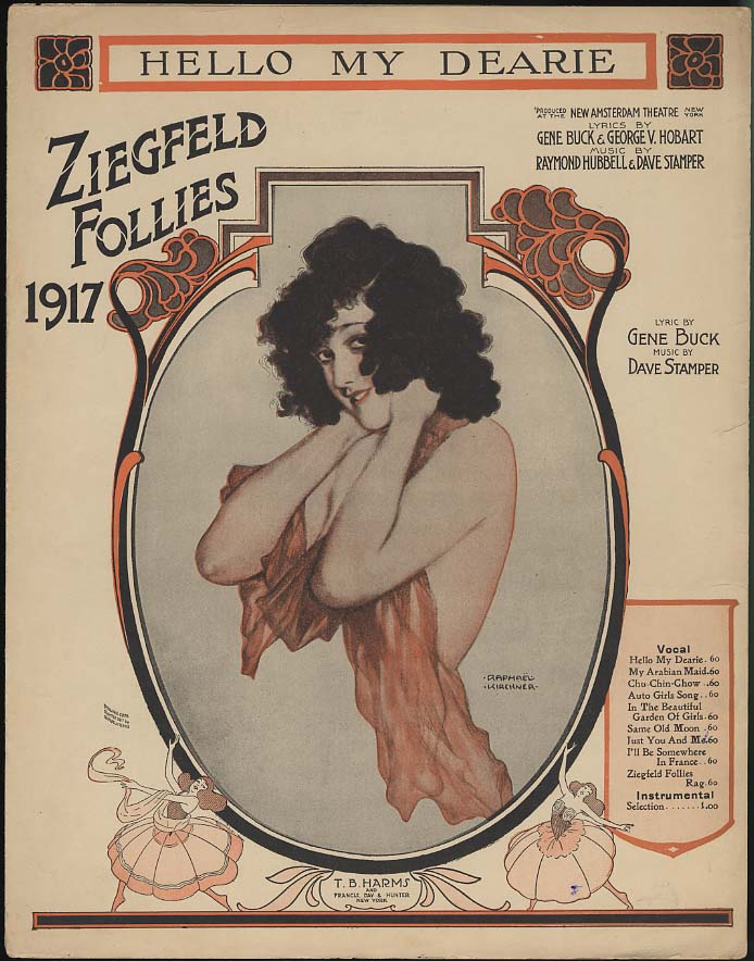 Hello My Dearie Ziegfeld Follies sheet music 1917 Raphael Kirchner pretty girl