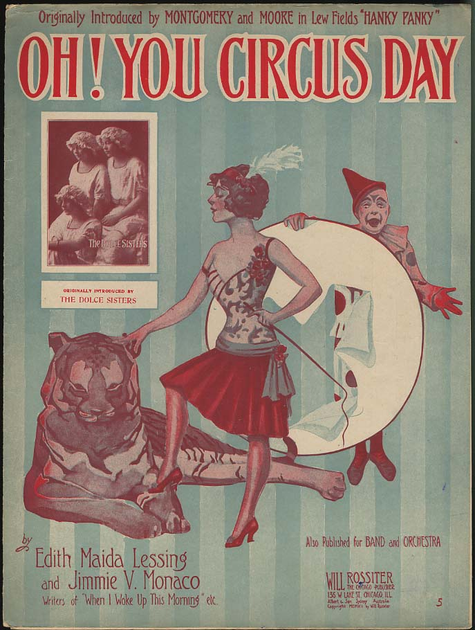 Oh! You Circus Day sheet music by Lessing & Monaco 1912 clown girl tiger tamer