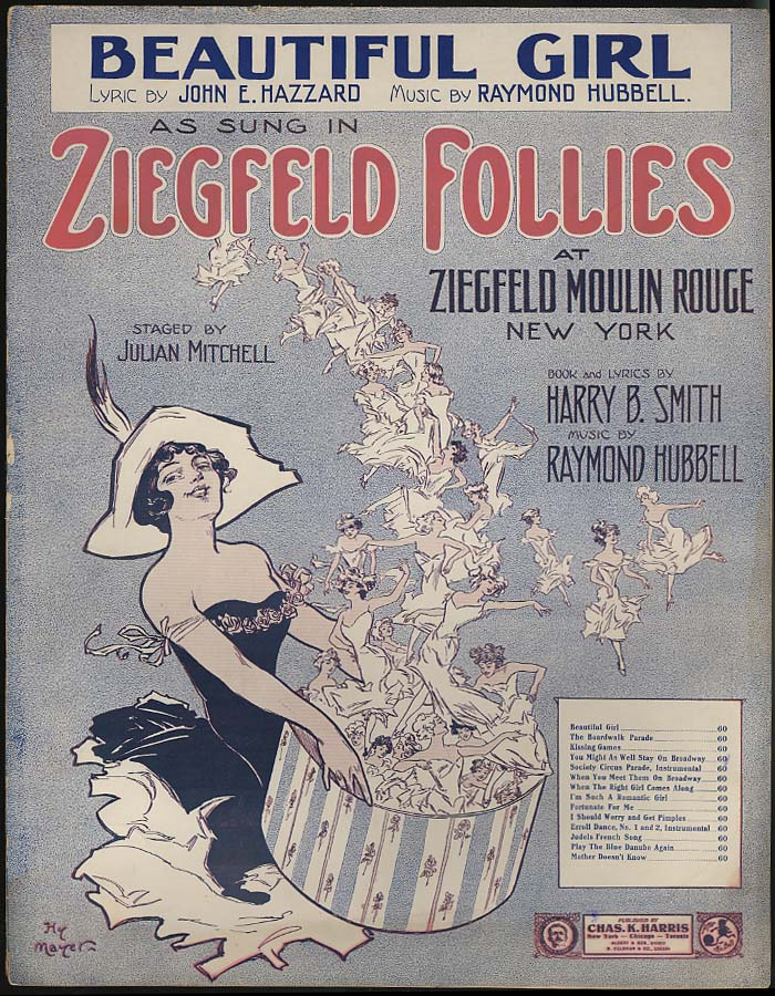 Beautiful Girl Zeigfeld Follies sheet music 1912 Hy Mayer pretty girl artwork