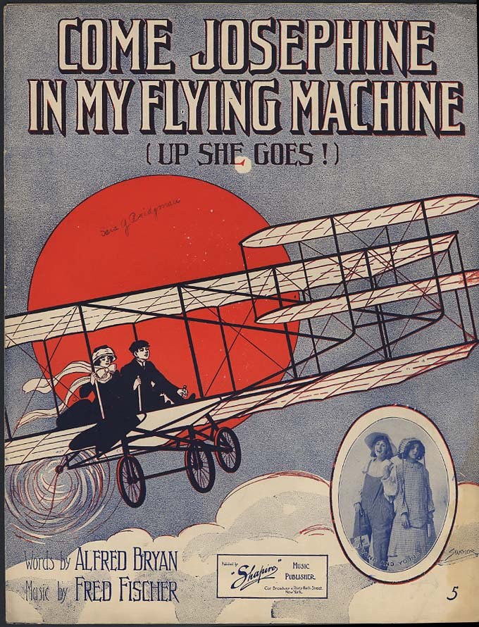 Come Josephine In My Flying Machine sheet music 1910 Wright Flyer