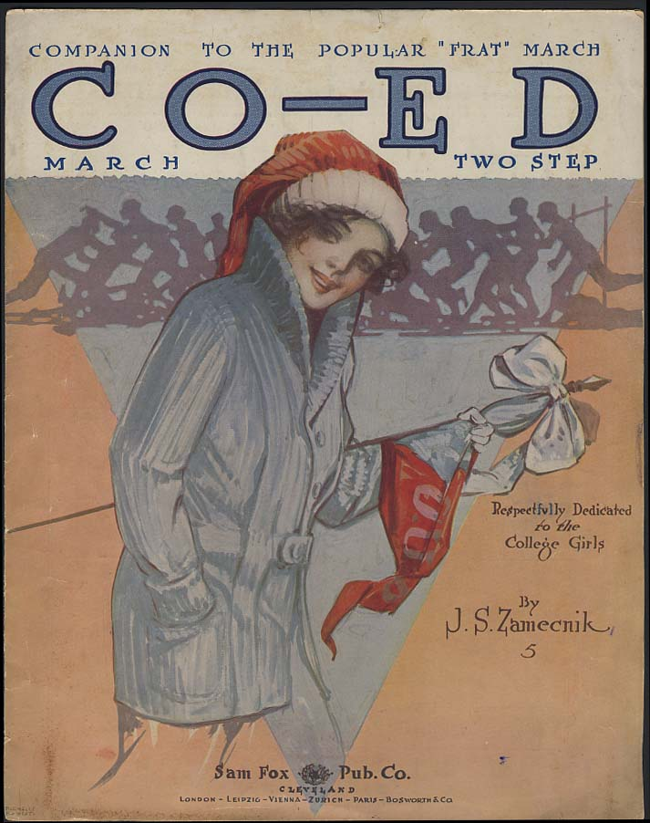 Co-Ed sheet music by J S Zamecnik 1914 Parmelee & West pretty girl cover