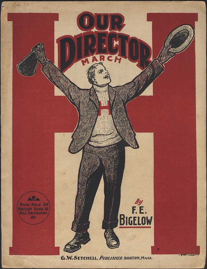 Our Director March sheet music 1901 male football cheerleader