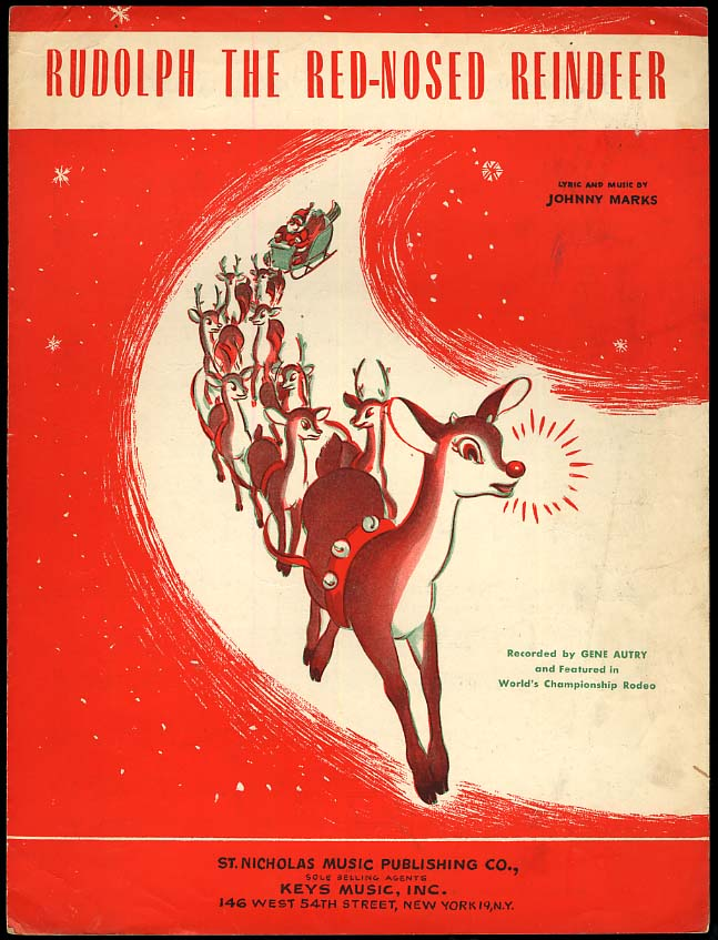 Rudolph the Red-Nosed Reindeer sheet music 1949 featured by Gene Autry
