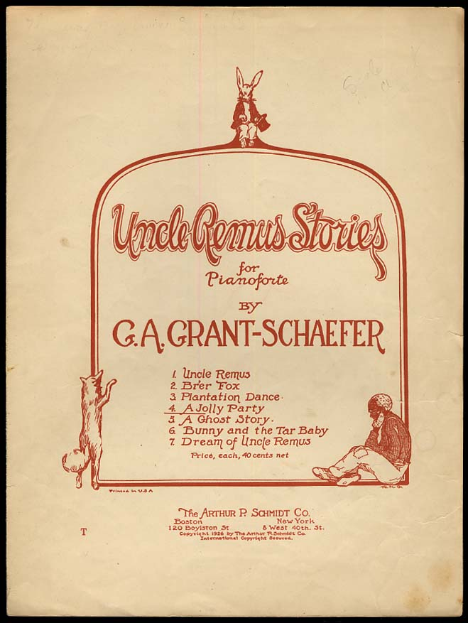 A Jolly Party Uncle Remus Stories sheet music 1926 by G A Grant-Schaefer