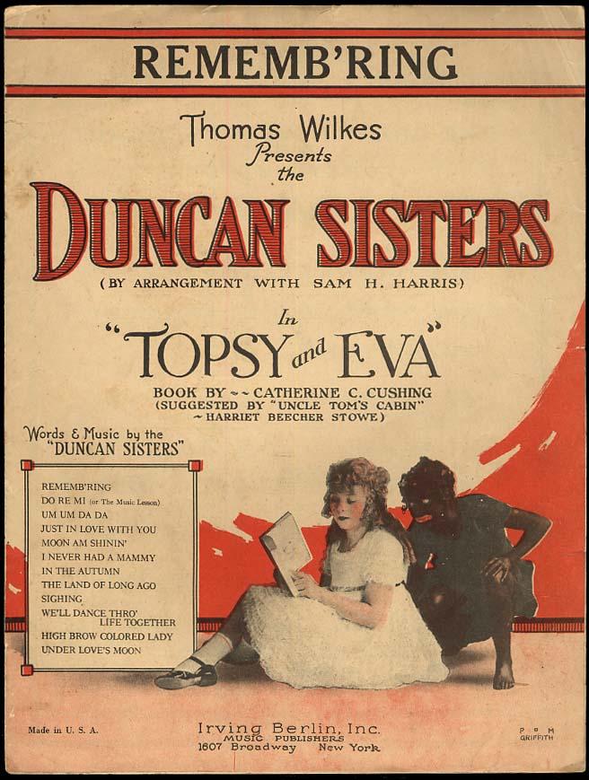 Remembr'ing sheet music 1923 Duncan Sisters Topsy & Eva blackface