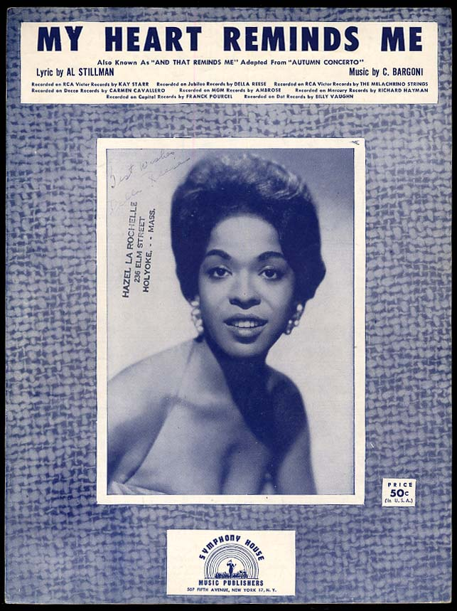 My Heart Reminds Me sheet music 1957 by Stillman & Bargoni sung by Della Reese