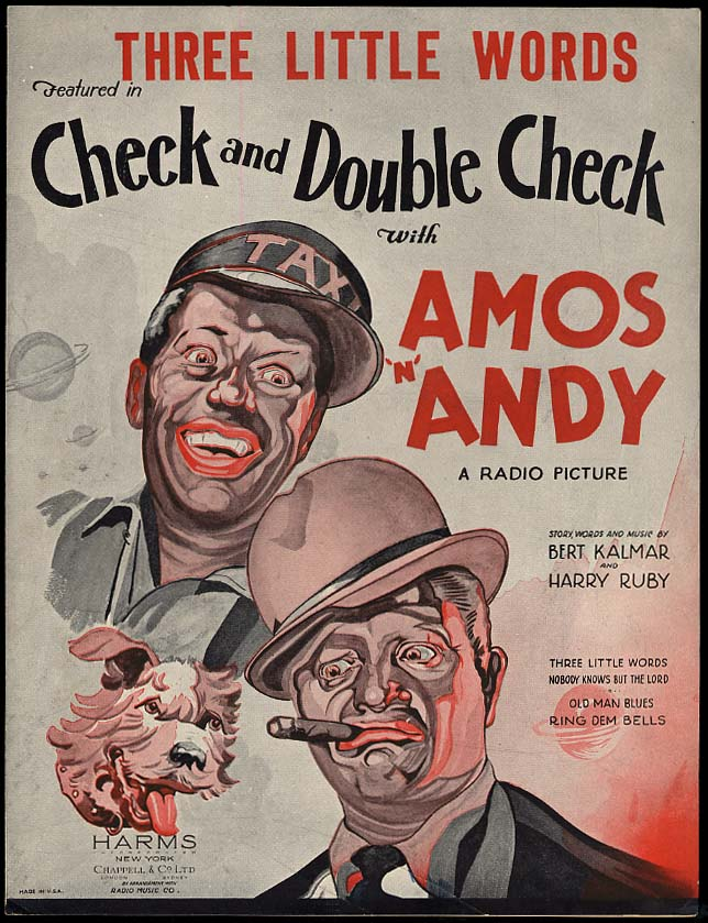 Amos N Andy Three Little Words sheet music 1930 black stereotype