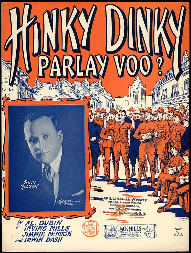 Hinky Dinky Parlay Voo? sheet music 1924 World War One favorite