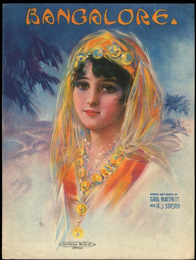 Bangalore sheet music by Burnett & Stasny 1919 pretty harem girl cover