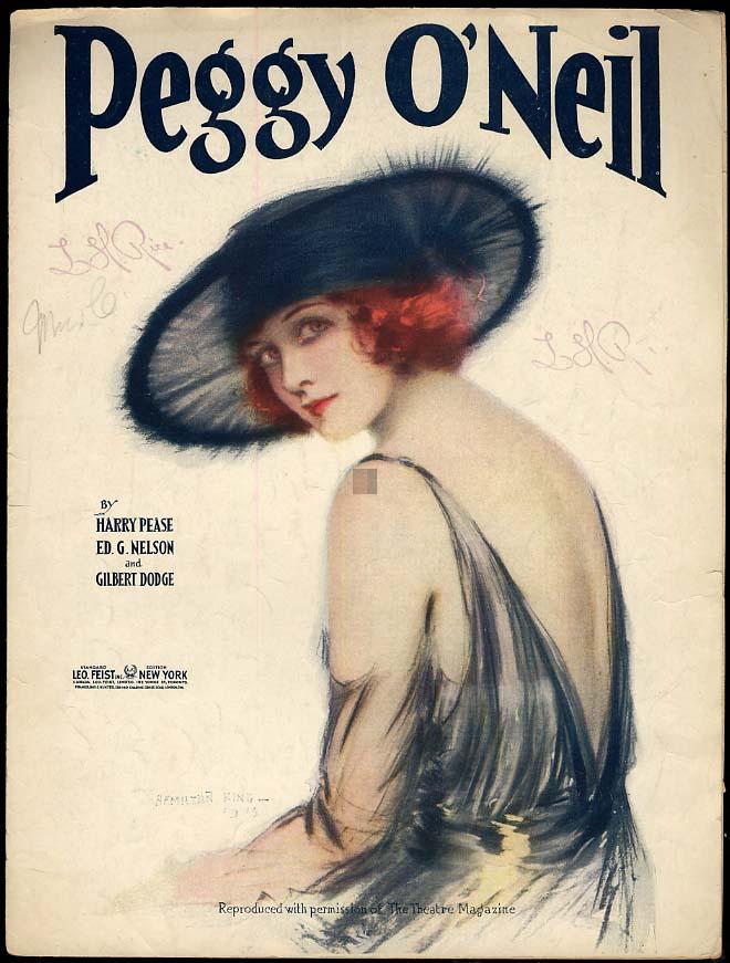 Peggy O'Neil sheet music 1921 pretty girl cover by Hamilton King