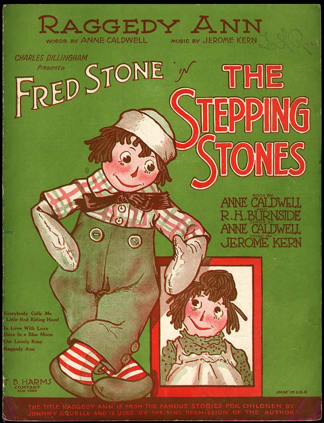 Raggedy Ann [Johnny Gruelle] sheet music 1923 for The Stepping Stones play
