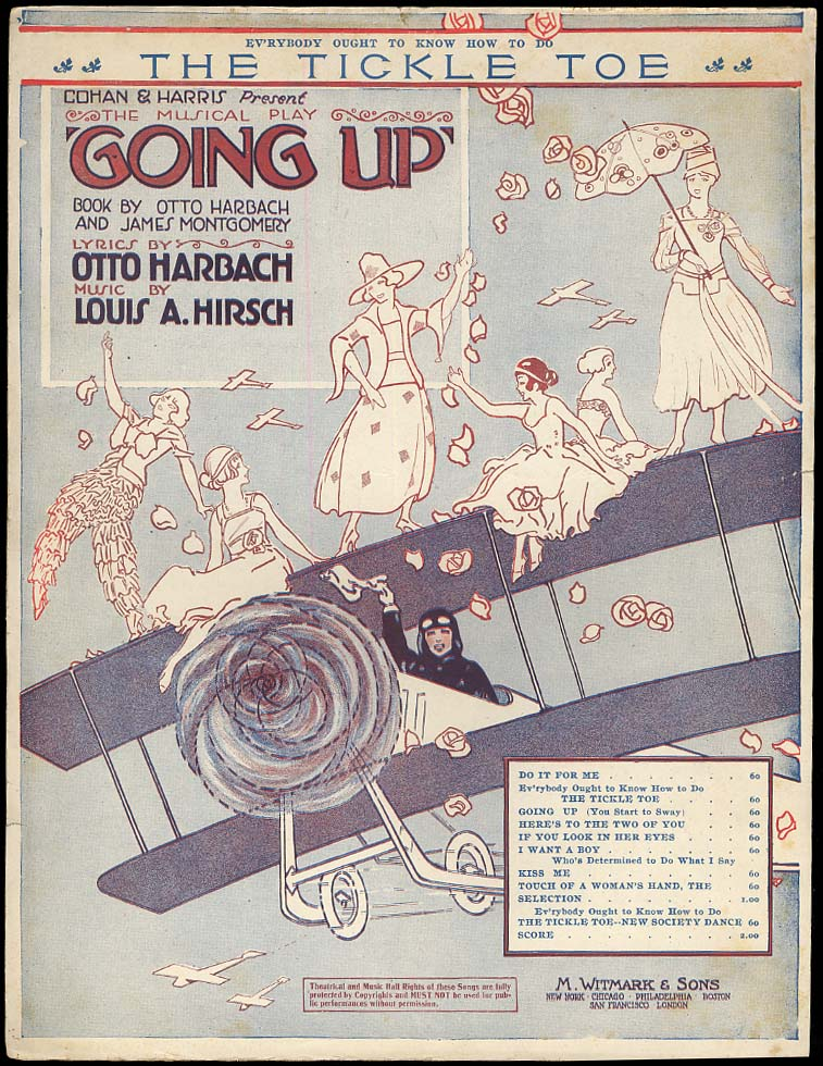 The Tickle Toe sheet music from Going Up aeroplane motif 1918 girls on wings