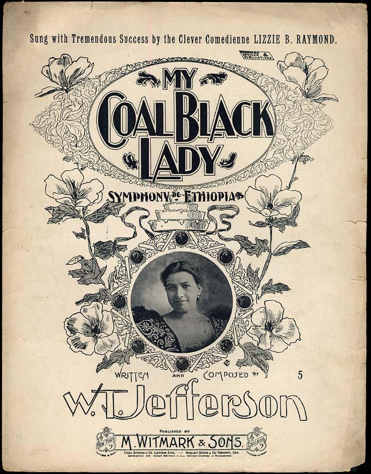 My Coal Black Lady Symphony de Ethiopia sheet music 1896 black stereotype