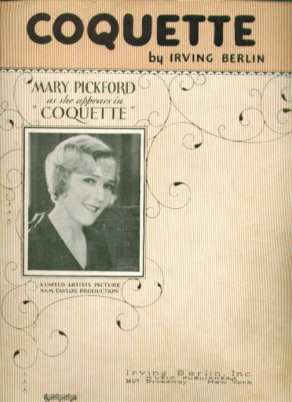 Coquette 1928 Sheet music Mary Pickford