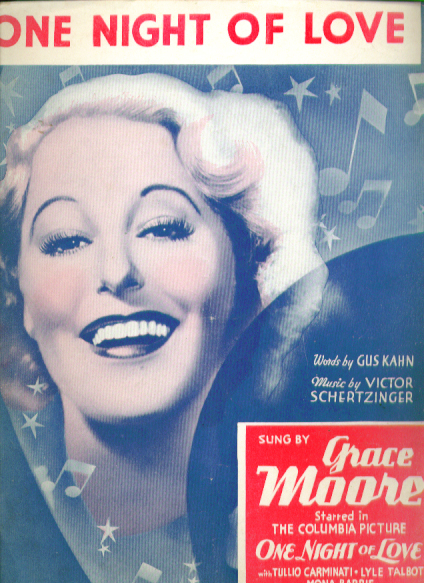 One Night of Love 1934 sheet music Grace Moore