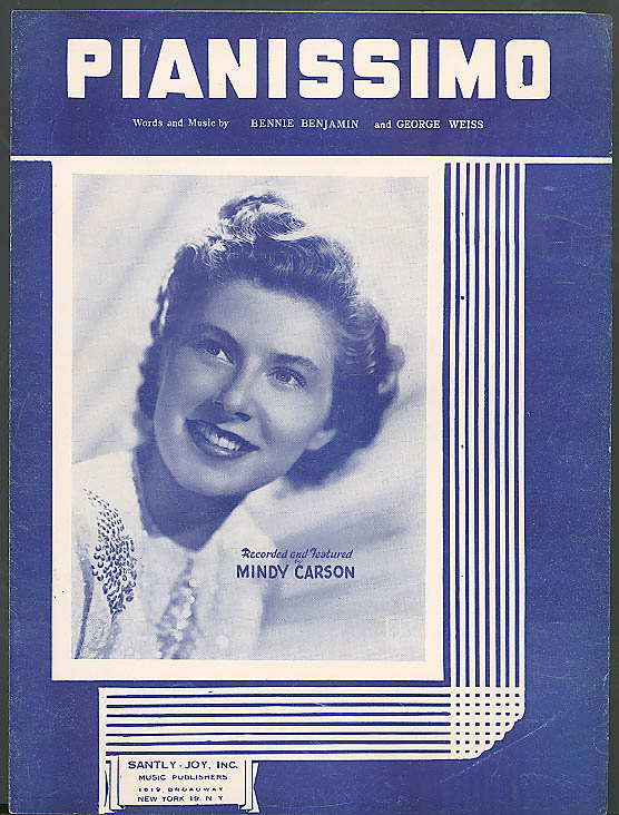 Pianissimo as featured by Mindy Carson sheet music 1947