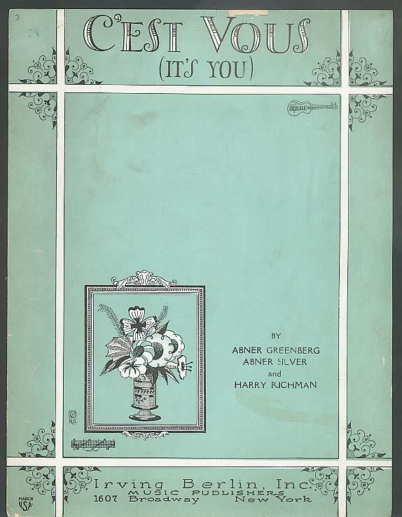 C'est Vous (It's You) sheet music 1927