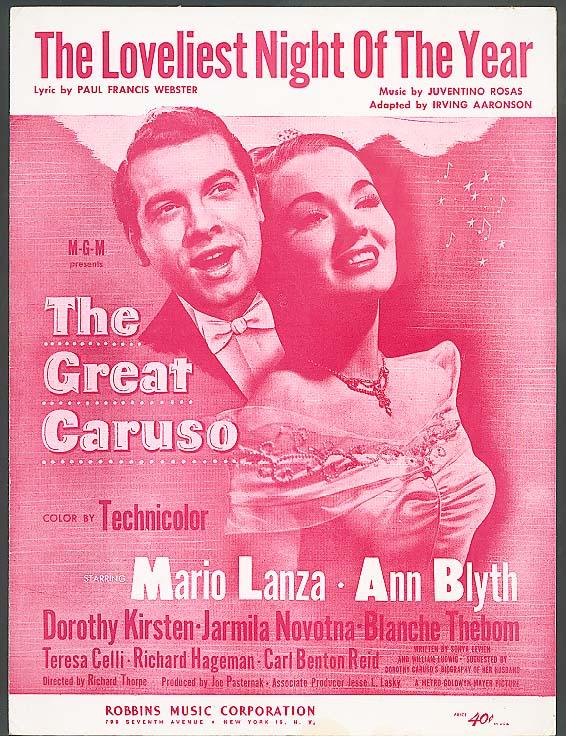 Loveliest Night of the Year sheet music Garuso 1940