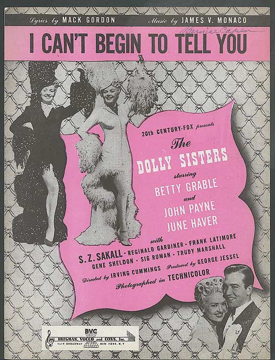 I Can't Begin To Tell You sheet music 1945