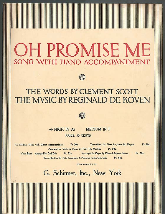 Oh Promise Me sheet music 1917