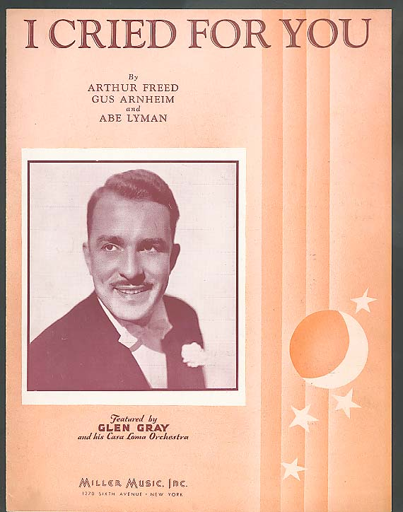 I Cried For You sheet music 1923