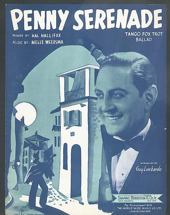 Penny Serenade sheet music 1938