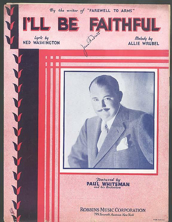 I'll Be Faithful sheet music 1933