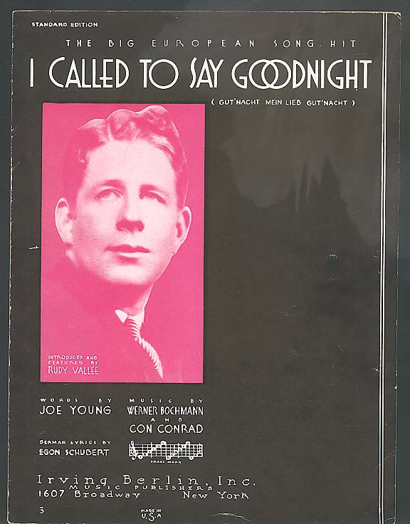 I Called To Say Goodnight sheet music 1932