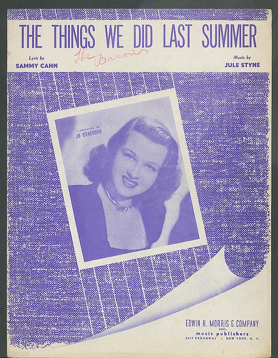 The Things We Did Last Summer sheet music 1946