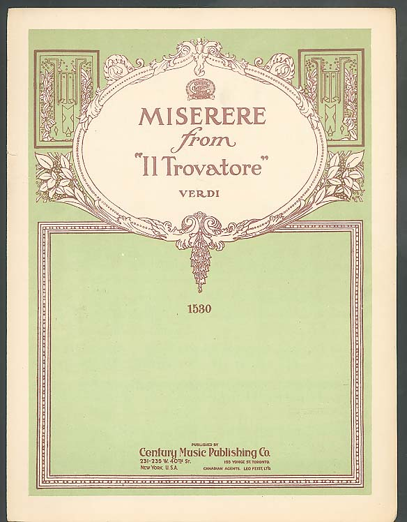 Miserere from Il Trovatore sheet music 1910