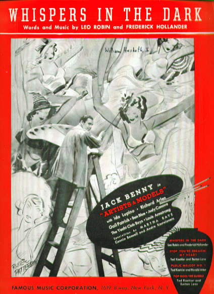Image for Whispers in the Dark 1937 sheet music Jack Benny Ida Lupino Artists & Models
