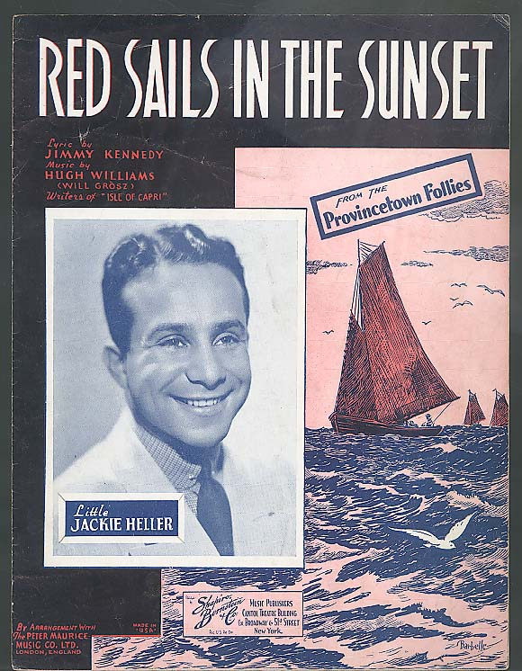 Red Sails in the Sunset sheet music 1935 Jackie Heller