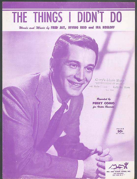 The Things I Didn't Do sheet music 1954