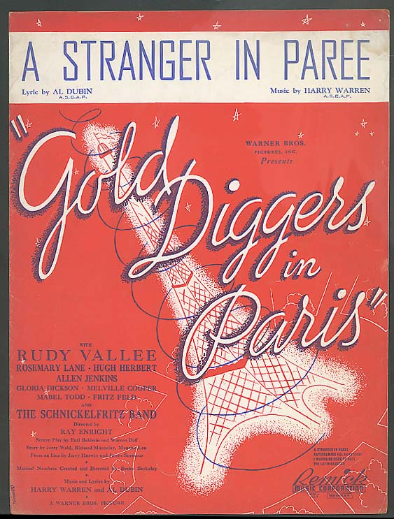 A Stranger in Paree sheet music 1938