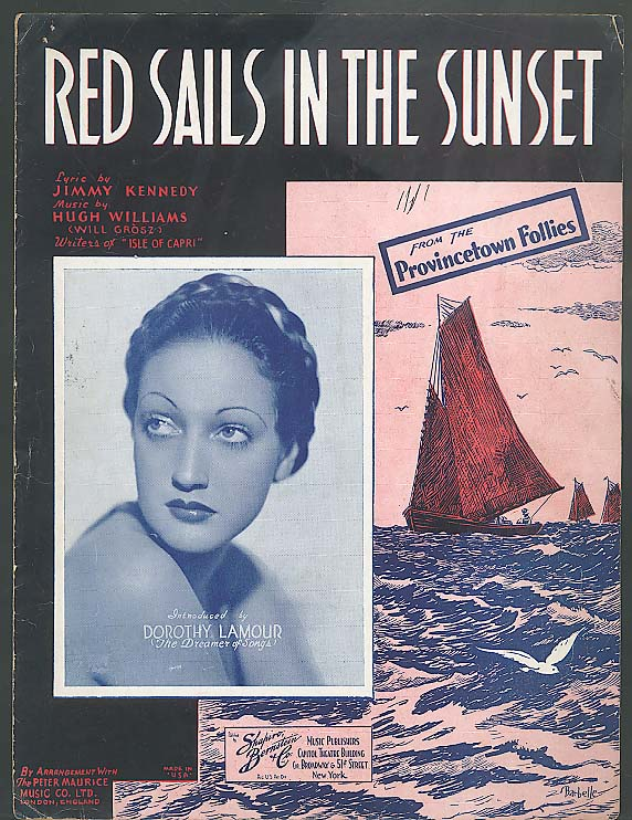 Red Sails in the Sunset sheet music 1935 Dorothy Lamour