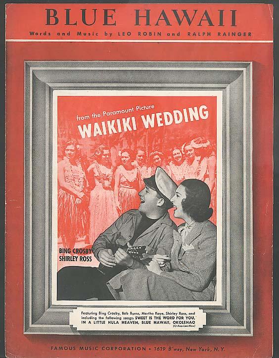 Blue Hawaii sheet music Waikiki Wedding 1937