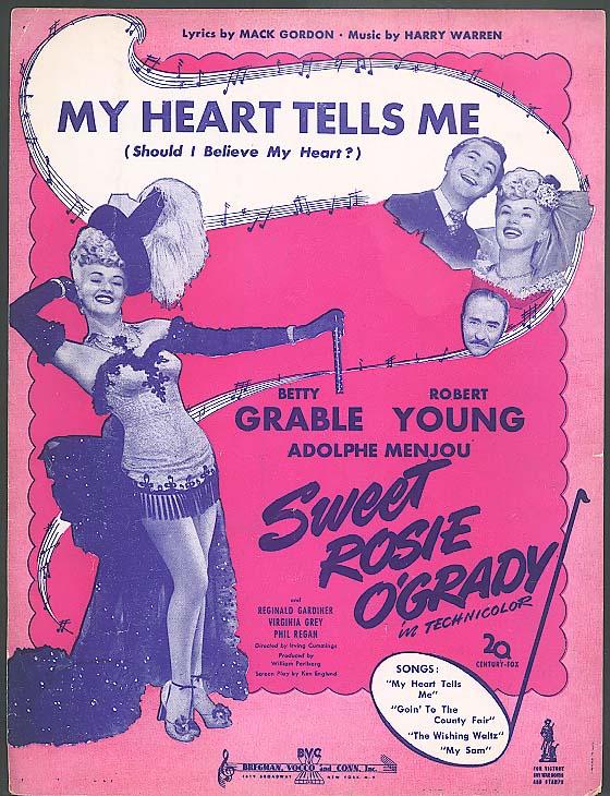 My Heart Tells Me sheet music Sweet Rosie O'Grady 1943 Betty Grable
