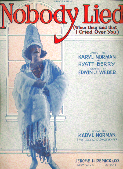 Nobody Lied 1922 sheet music Karyl Norman
