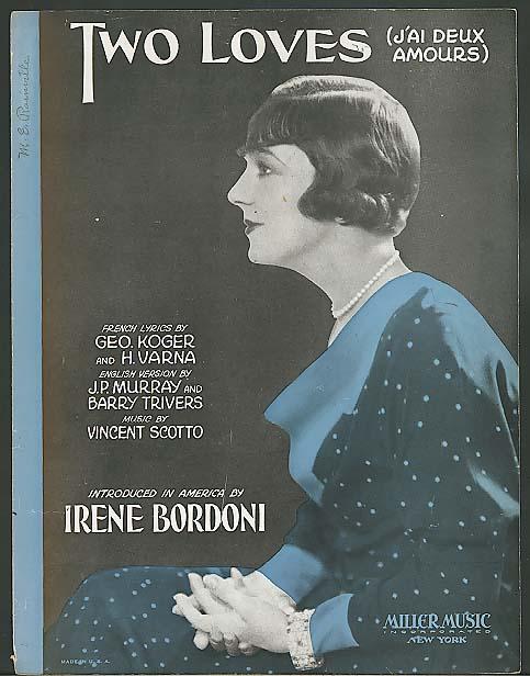 Image for Two Loves 1931 sheet music Irene Bordoni