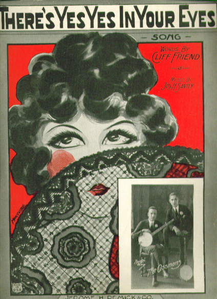 Image for There's Yes Yes in Your Eyes 1924 sheet music