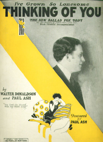 Image for Thinking of You 1926 sheet music Paul Ash
