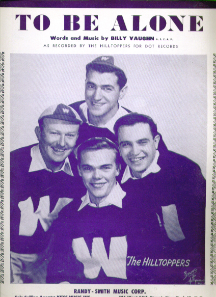 Image for To Be Alone 1953 sheet music Hilltoppers