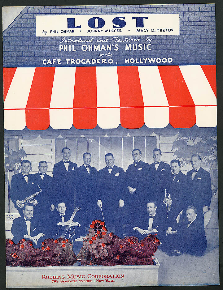 Lost Café Tracdero Hollywood sheet music 1936
