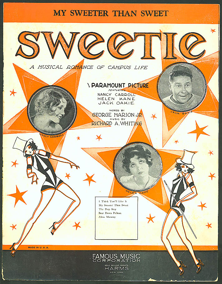 My Sweeter Than Sweet Sweetie film sheet music 1929