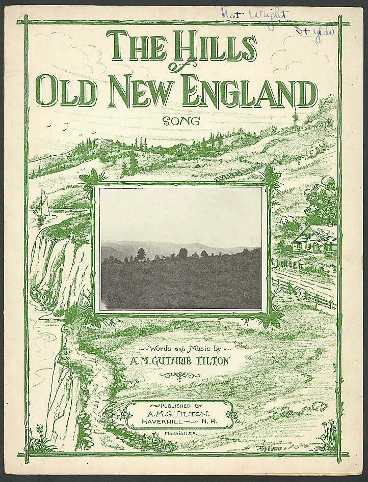 Hills of Old New England Haverhill NH sheet music 1929