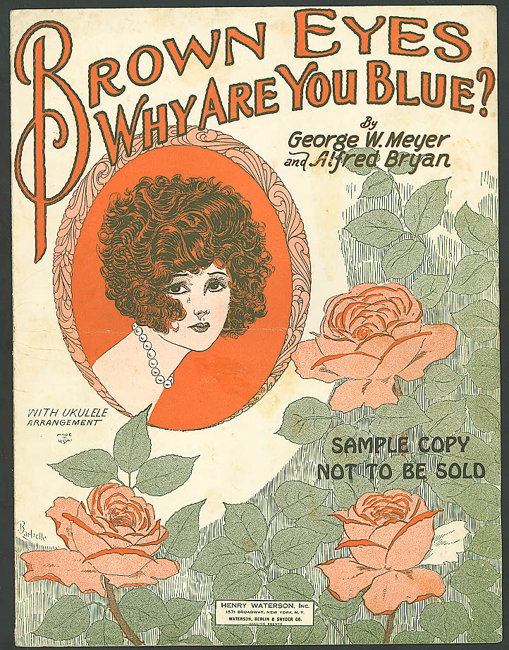 Image for Brown Eyes Why Are You Blue? Pretty girl music 1925