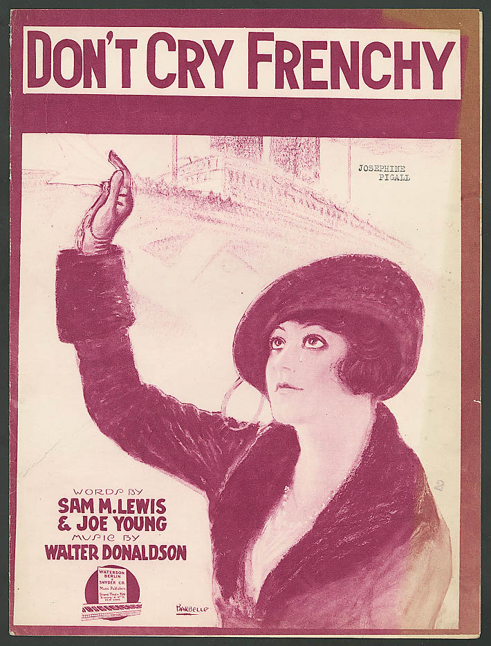 Image for Don't Cry Frenchy World War I sheet music 1919
